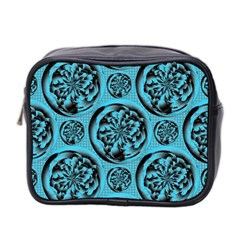 Turquoise Pattern Mini Toiletries Bag 2 Side by linceazul