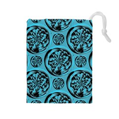 Turquoise Pattern Drawstring Pouches (large)  by linceazul