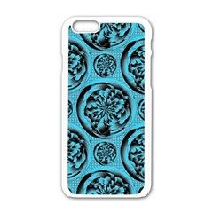 Turquoise Pattern Apple Iphone 6/6s White Enamel Case by linceazul