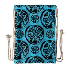 Turquoise Pattern Drawstring Bag (large) by linceazul
