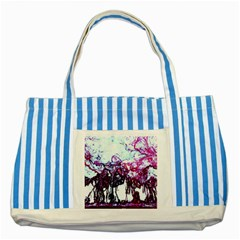 Colors Striped Blue Tote Bag by Valentinaart
