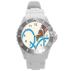 Butterfly Round Plastic Sport Watch (l) by Mariart