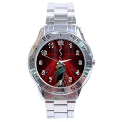Artistic Blue Gold Red Stainless Steel Analogue Watch by Mariart