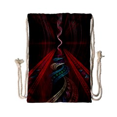 Artistic Blue Gold Red Drawstring Bag (small) by Mariart