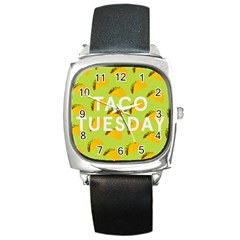 Bread Taco Tuesday Square Metal Watch by Mariart