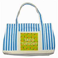 Bread Taco Tuesday Striped Blue Tote Bag by Mariart