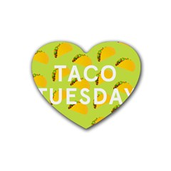 Bread Taco Tuesday Rubber Coaster (heart)  by Mariart