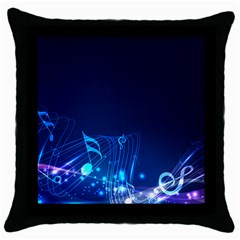 Abstract Musical Notes Purple Blue Throw Pillow Case (black) by Mariart