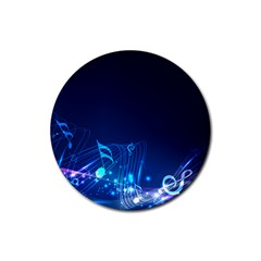 Abstract Musical Notes Purple Blue Rubber Coaster (round)  by Mariart
