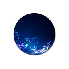 Abstract Musical Notes Purple Blue Magnet 3  (round)