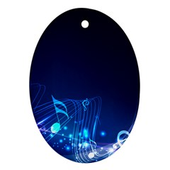 Abstract Musical Notes Purple Blue Oval Ornament (two Sides) by Mariart