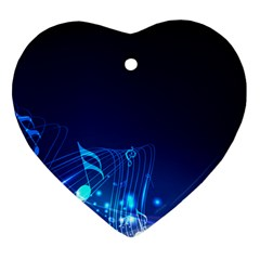 Abstract Musical Notes Purple Blue Heart Ornament (two Sides) by Mariart