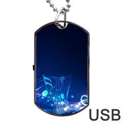 Abstract Musical Notes Purple Blue Dog Tag Usb Flash (one Side) by Mariart