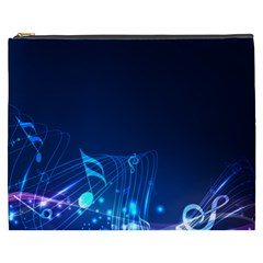 Abstract Musical Notes Purple Blue Cosmetic Bag (xxxl)  by Mariart