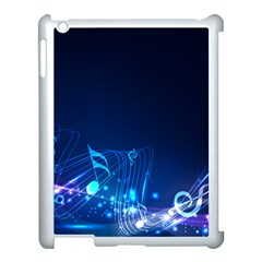 Abstract Musical Notes Purple Blue Apple Ipad 3/4 Case (white) by Mariart