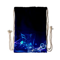 Abstract Musical Notes Purple Blue Drawstring Bag (small) by Mariart