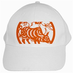 Chinese Zodiac Cow Star Orange White Cap by Mariart