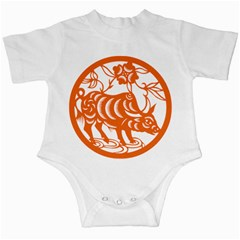 Chinese Zodiac Cow Star Orange Infant Creepers by Mariart
