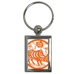 Chinese Zodiac Cow Star Orange Key Chains (rectangle)