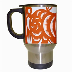 Chinese Zodiac Cow Star Orange Travel Mugs (white) by Mariart