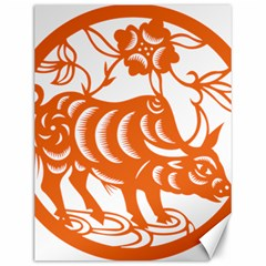 Chinese Zodiac Cow Star Orange Canvas 12  X 16   by Mariart