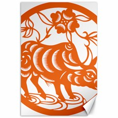 Chinese Zodiac Cow Star Orange Canvas 24  X 36  by Mariart