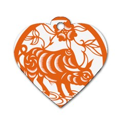 Chinese Zodiac Cow Star Orange Dog Tag Heart (one Side) by Mariart