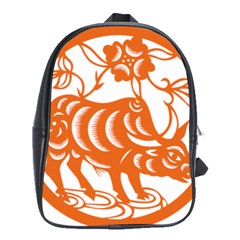 Chinese Zodiac Cow Star Orange School Bags(large)  by Mariart