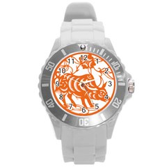 Chinese Zodiac Cow Star Orange Round Plastic Sport Watch (l) by Mariart