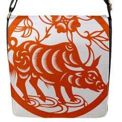 Chinese Zodiac Cow Star Orange Flap Messenger Bag (s) by Mariart