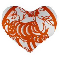 Chinese Zodiac Cow Star Orange Large 19  Premium Flano Heart Shape Cushions by Mariart