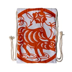 Chinese Zodiac Cow Star Orange Drawstring Bag (small) by Mariart