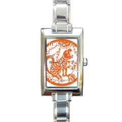 Chinese Zodiac Dog Star Orange Rectangle Italian Charm Watch by Mariart