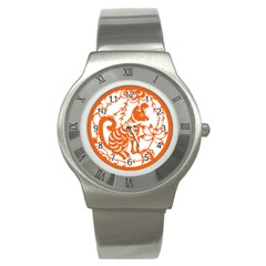 Chinese Zodiac Dog Star Orange Stainless Steel Watch by Mariart