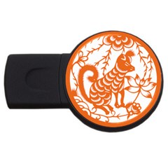 Chinese Zodiac Dog Star Orange Usb Flash Drive Round (4 Gb) by Mariart
