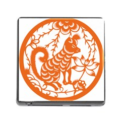 Chinese Zodiac Dog Star Orange Memory Card Reader (square)