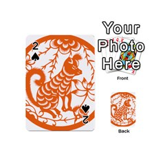 Chinese Zodiac Dog Star Orange Playing Cards 54 (mini)  by Mariart