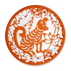 Chinese Zodiac Dog Star Orange Round Filigree Ornament (two Sides) by Mariart