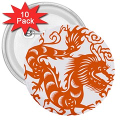 Chinese Zodiac Dragon Star Orange 3  Buttons (10 Pack)