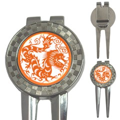 Chinese Zodiac Dragon Star Orange 3 In 1 Golf Divots by Mariart
