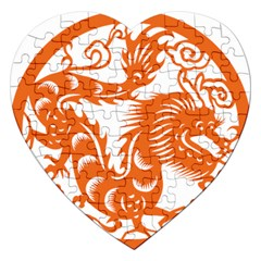 Chinese Zodiac Dragon Star Orange Jigsaw Puzzle (heart) by Mariart
