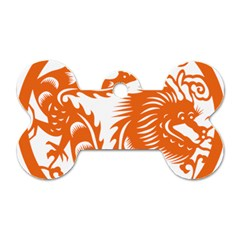 Chinese Zodiac Dragon Star Orange Dog Tag Bone (two Sides) by Mariart