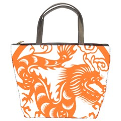 Chinese Zodiac Dragon Star Orange Bucket Bags by Mariart