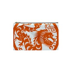Chinese Zodiac Dragon Star Orange Cosmetic Bag (small)