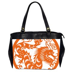 Chinese Zodiac Dragon Star Orange Office Handbags (2 Sides)  by Mariart