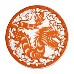 Chinese Zodiac Dragon Star Orange Round Filigree Ornament (two Sides) by Mariart