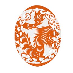 Chinese Zodiac Dragon Star Orange Oval Filigree Ornament (two Sides) by Mariart