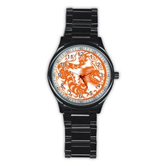 Chinese Zodiac Dragon Star Orange Stainless Steel Round Watch by Mariart