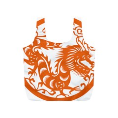 Chinese Zodiac Dragon Star Orange Full Print Recycle Bags (s)