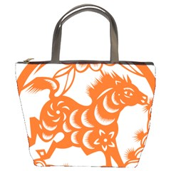 Chinese Zodiac Horoscope Horse Zhorse Star Orangeicon Bucket Bags by Mariart